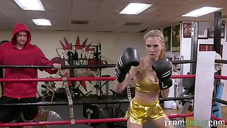 Boxing babe Ashley Lane gets fucked doggy style and swallows cum