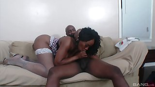 Ebony BBW Kitty B. cums while getting fucked missionary style
