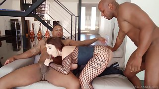 Curvy tattooed toddler Ivy Lebelle pounded by black cocks and swallows