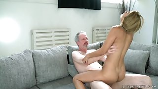 Pigtailed 18 year grey rides an grey mans dick