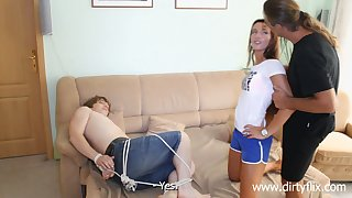 Tied up submissive buddy watches his GF Promesita being banged doggy