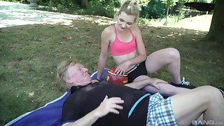 Outdoor sloppy blowjob together with cowgirl style riding with Tyna Gold