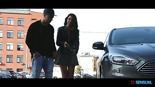 Beautiful young hottie Bell Knock hooks up with one taking stranger