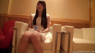 Redhead amateur Japanese long haired teen fucked sacristan style