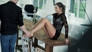 Long legged ductile gal with natural soul Tina Kay gives a really great footjob