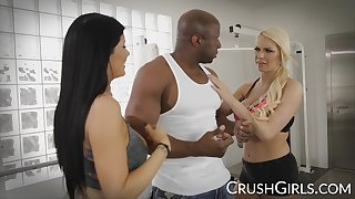 Kenzie plus Romi share a big black cock