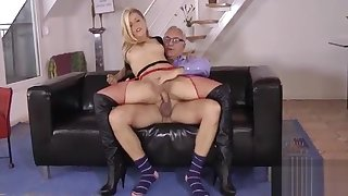 Shy wench gives surprising blowjob and then takes it up the pussy