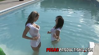 Lewd chick Stacy Shine takes part in crazy lesbian orgy by the poolside