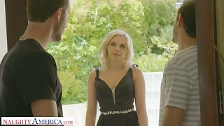 Naughty festival with perfect curves Allie Nicole is eager for crazy threesome carnal knowledge