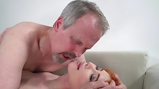 Horny old guy has unforgettable sexual connection with wife's cute stepdaughter