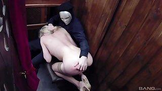 Kinky blonde whore Tamara Grace cum sprayed in a church