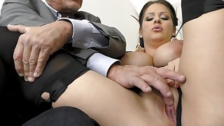 Busty milf sucks say no to old boss then enjoys anal with him