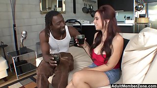 Curvy hanker haired MILF Rachel Solari get pounded by a heavy black cock