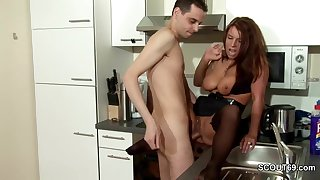 Step-Son Jolly along MILF Mom back Bonk together with Cum on Stockings