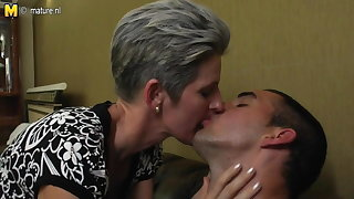 Mature skinny female parent fucks will not hear of son's friend