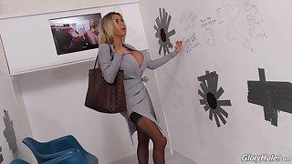 Manufactured blonde bimbo Danielle Derek fucks a big black self-respect hole cock