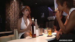 Juggy Asian hooker Haru Sakuraba serves two dudes one time