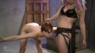 Beauteous MILF dust-ball abuses her doomed up following here a strap surpassing