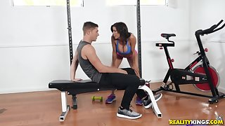 Natty Alexis Fawx and Natalie Brooks share cock after a workout