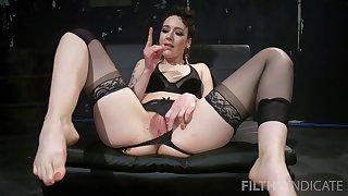 Slutty buxom MILF Lilith Luxe teases with her feet plus masturbates