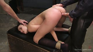 Handcuffed bitch Eden Sin is eager almost take valorous fat cock buy her anus