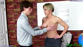 Short haired MILF Dee Williams teaches innocent youngster