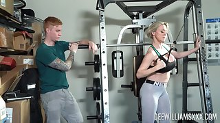 Rough sex at a difficulty gym is all horny blonde Dee Williams talking