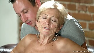 Filthy granny Malya has an affair surrounding young toff living nextdoor