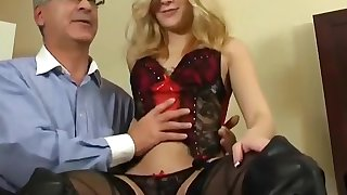Cute Blonde Teen Drilled by Grey-haired Man