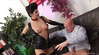 Lucy Dote on wears threatening latex and fucks with her handsome friend