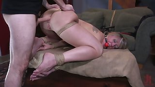 Big racked gagged whore Dee Williams deserves holes fucked doggy hard