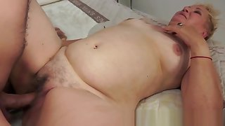 Chubby gilf pleasuring her lovers cock