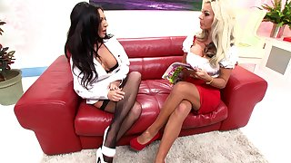 Emily B and one more girl are ready be incumbent on red-letter threesome