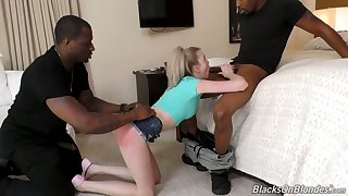 Two black friends fuck anus with the addition of pussy of naughty petite blonde Lexi Lore