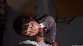 Tight Japanese schoolgirl gets laid with one be useful to her teachers