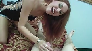 Lovely porn darling Smokie Flame gives huge cock a hot blowjob