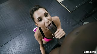 Obese black dick penetrated deep in petite Hime Marie in an obstacle gym