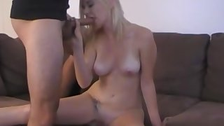 To one's liking looking blonde spreads her legs to disgust fucked in her tight-fisted pussy