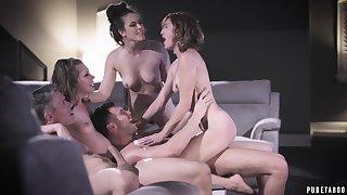 Elena Koshka, Casey Calvert together with Eliza Jane delude in group fucking