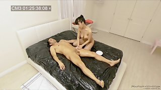 Spy cam records a lucky toff getting nuru massage by Jade Kush