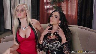 FFM threesome with Alena Croft and Ariella Ferrera ends with facials
