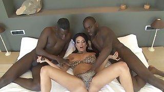 Pornstar Anissa Kate opens her legs for twosome large black dicks