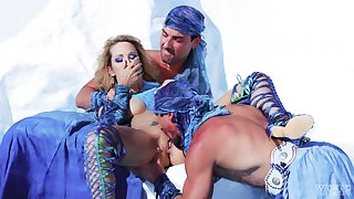 Amazing problem resolution and unexcited threesome for a tight blonde