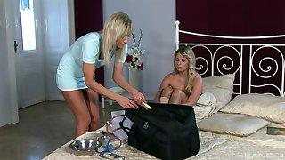 Kinky blonde nurse loves taking care be proper of her loved blonde patient