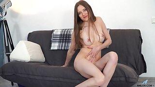 Crooked mature slut Bridget Jot takes off her clothes to masturbate