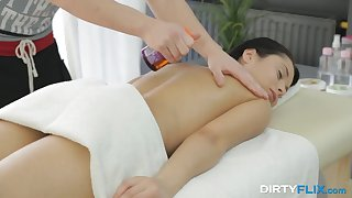 Brunette with rich brighten nipples Kristall Rush gets her pussy massaged and fucked