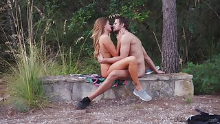 Open-air sex on touching nature for a gorgeous teen and her go steady with