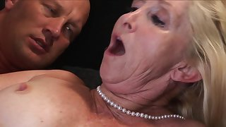 A blonde granny with liberal tits is getting cumshot take her untidy cunt