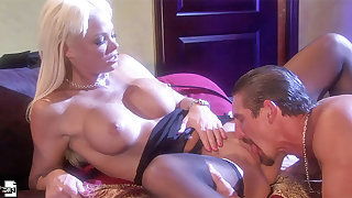 Blonde mature MILF Rhylee Richards rides a big hard cock in stockings