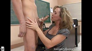 Caucasian Brandi Love fucking in the classroom regarding her tits